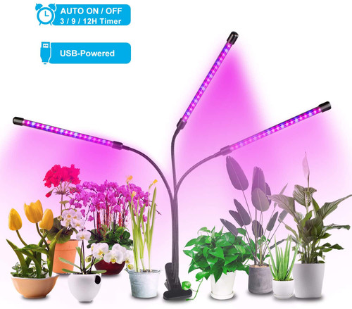 Dr. Prepare Grow Light for Indoor Plants, Tri Head Timing LED Grow Light with Red & Blue Spectrum, 6 Dimmable Levels, Adjustable Gooseneck, Auto On/Off 3/9/12H Timers, 3 Switch Modes for Indoor Plants