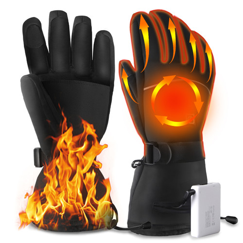 Dr. Prepare Heated Gloves, Unisex Waterproof Electric Gloves, 3 Heating Levels, 4100mAh Rechargeable Batteries, Heating Warm Ski Gloves for Men Women Motorcycle, Skiing, Work, Hunting, Hiking