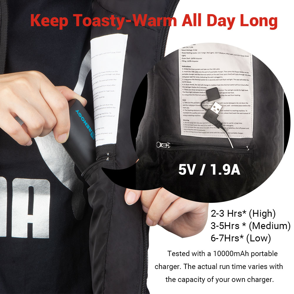 USB Electric Heated Coat Winter Warmer Prepare 3 Heating Levels Heated Vest Dr