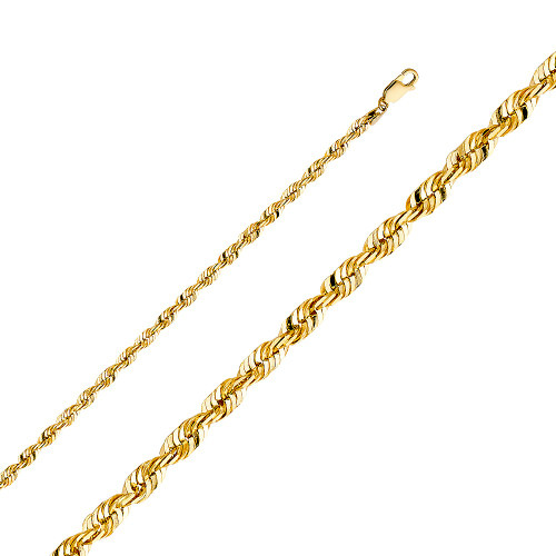14k Solid Rope Chain 4mm