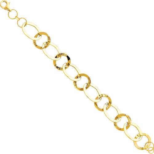 14K (SOLID) Yellow Light Fancy Bracelet - 7.5""