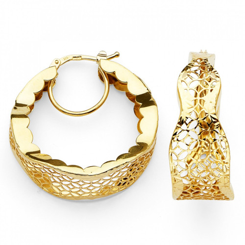 14K Fancy DC Hoop Earrings W/Lever Back