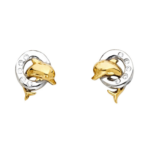14K 2T Dolphin Post Earrings