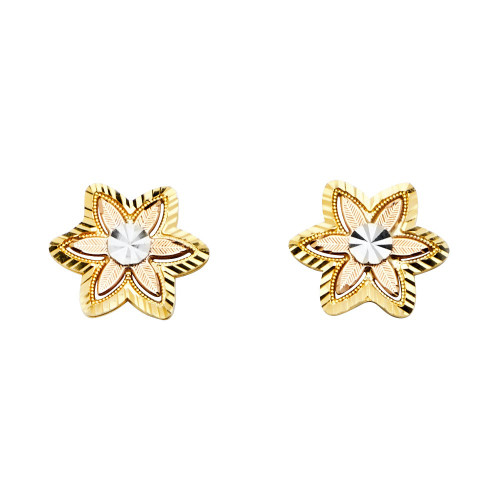 14K 3C Flower Post Earrings