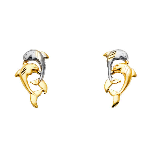 14K 2T Dolphin Earrings