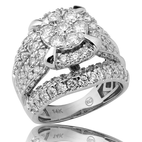 14K 3.00CTW Diamond Round V-Prong Cluster Ring with Prong Halo