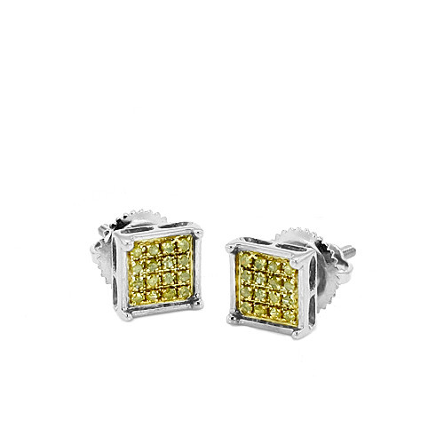 10K 0.10CTW Yellow Diamond Square Prong Earrings