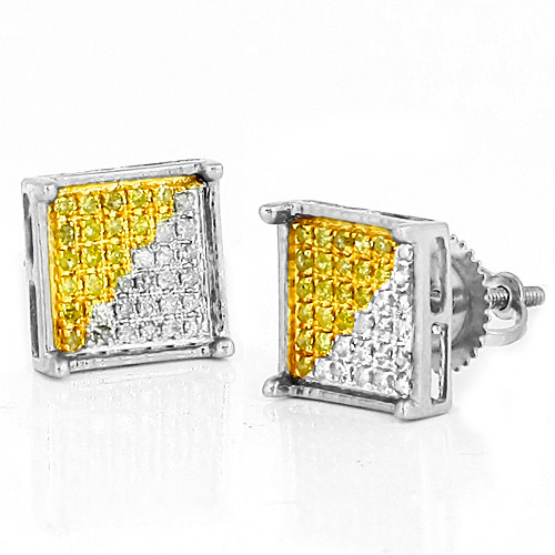 10K 0.15 CTW 1/2 Yellow Diamond Square Prong Earrings