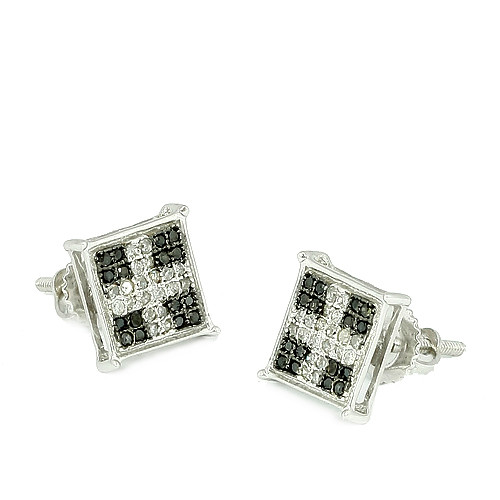 10K 0.25ctw Black and White Diamond Square Prong Earrings