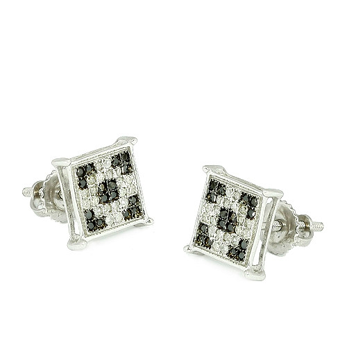 10K 0.25ctw Black and White Diamond Square Earrings