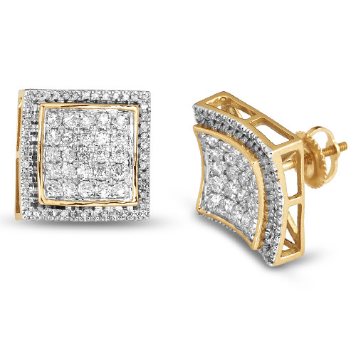 10K 0.50ctw Diamond Square Shape Concave 3-D Earrings