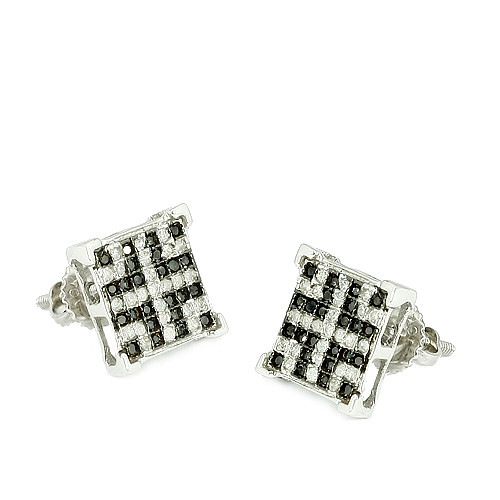10K 0.33ctw Black and White Diamonds V-Prong Earrings
