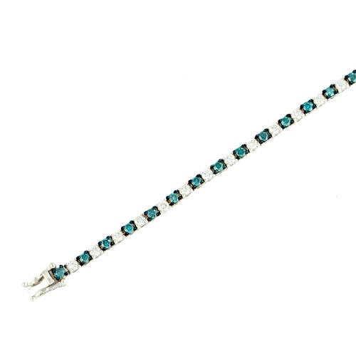 14K (SOLID) 4.10CTW Blue and White Diamond Bracelet