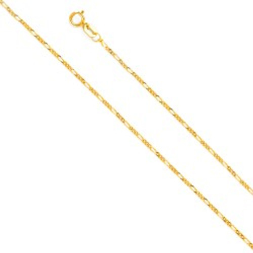 14K (SOLID) 1.6mm Figaro Chain