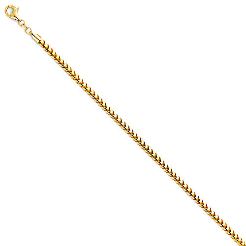 14K (SOLID) 3.3mm Franco Round Chain