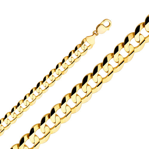 14K (SOLID) 14mm Cuban Concave Chain