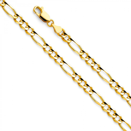14K (SOLID) 4.7mm Figaro Concave Chain