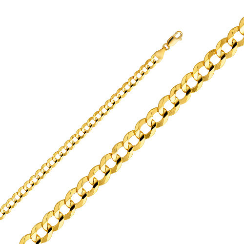 14K (SOLID) 5.7 mm  concave Cuban link Chain