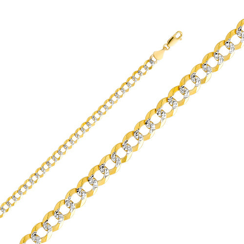 14K (SOLID) 5.7 mm Concave Cuban WP Chain