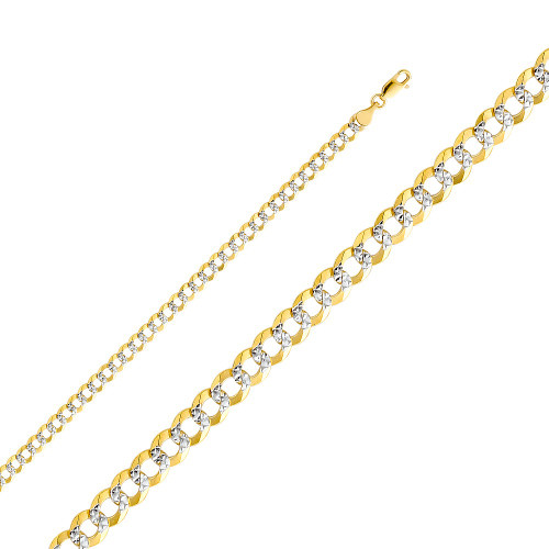 14K (SOLID) 4.7 mm Concave Cuban WP Chain