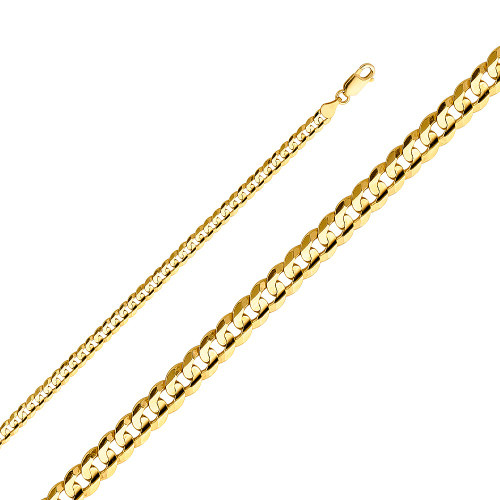 14K (SOLID) 4.8mm Cuban Concave Chain