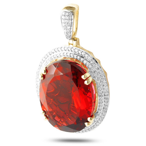 Diamond Oval Ruby Birthstone (pendant)