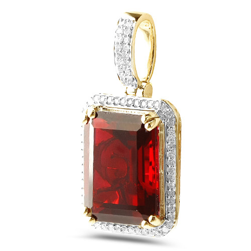 Diamond Princess Cut Ruby Birthstone (pendant)