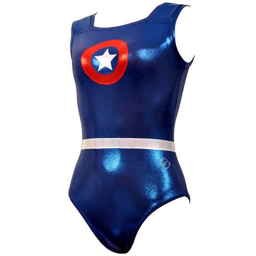 Captain America Gymnast Leotard Front Left