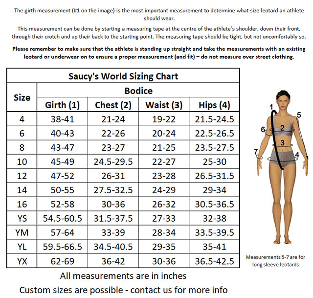 Girls Leotard Sizing Chart