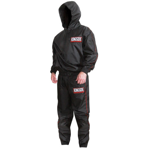 The New Ringside Pro hooded nylon sauna suit is what you need for intense sweating and water weight loss. Constructed of all new rip-stop EVA nylon that is less bulky, non-tearing and more comfortable. The PVC rubber nylon liner keeps perspiration and sauna action inside. Complete set includes a long sleeve, pullover top with hood and pants.     Top includes a drawstring hood, elastic waist with hook and loop wrists Zippered personal pocket on arm Pants include two zippered side pockets Zippered ankle closures with elastic cuffs