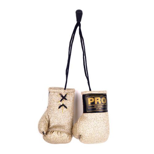 PRO Mini Boxing Gloves Gold Glitter