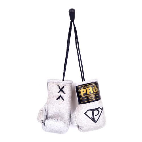 PRO Mini Boxing Gloves Silver Glitter