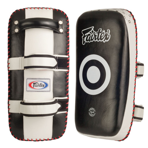 The versatility of the Fairtex Thai pads makes them an essential tool for all fight styles and disciplines.    Curved design creates a tight fit and better accepts leg strikes Soft padding on the head for jabs Leather construction No sharp edges or angles Hand made in Thailand
