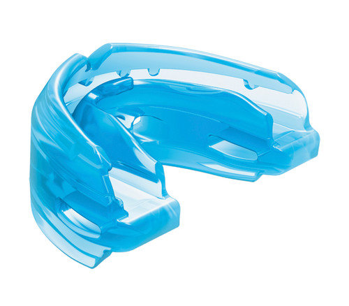 Protection for athletes with braces seeking protection for both upper and lower teeth. The Double Braces mouthguard is specifically designed to conform to upper and lower brace brackets for instant comfort and prevention from lacerations. Made with 100% medical-grade silicone, it adapts to changes in mouth structure as teeth adjust. Available in strapped or strapless versions.