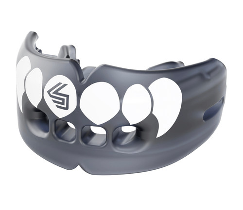Special Ortho-Channel fits around upper & lower teeth brace brackets 100% medical-grade silicone -no boiling required Adapts to changes in tooth position as braces are adjusted Quick-release helmet tether (strap model) Meets national and state high school rules requiring full coverage of upper brace brackets during wrestling competition HSA/FSA ELIGIBLE LATEX FREE, BPA FREE, Phthalate Free $50,000 Dental Warranty