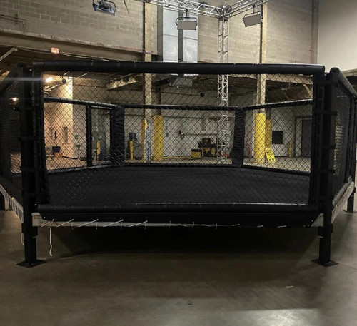 The Professional MMA 22' x 22' Hexagon MMA cage competition approved custom Handcrafted in the USA. For more information sales and rentals please contact customer service directly via email or phone. Discounted shipping rate via freight. Available in all different color combinations. Customize it with your logo upon request.