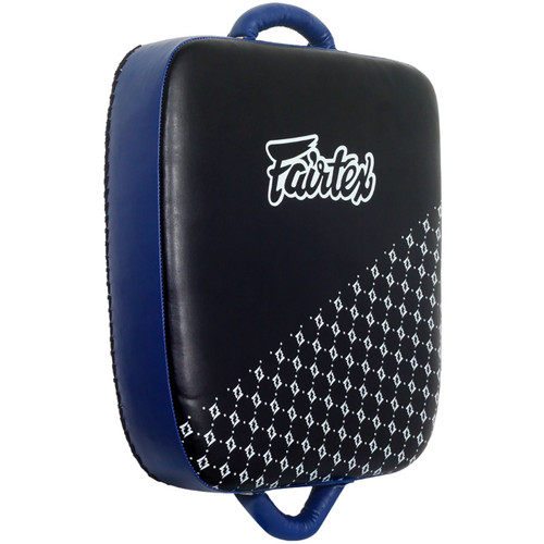 Traditional Thai suitcase style kick pad from Fairtex is perfect for practicing leg and cut kicks, foot jabs, knees and even body punches.     Dense-- shock absorbing foam core Two sturdy handles secure the grip Synthetic leather construction Hand made in Thailand