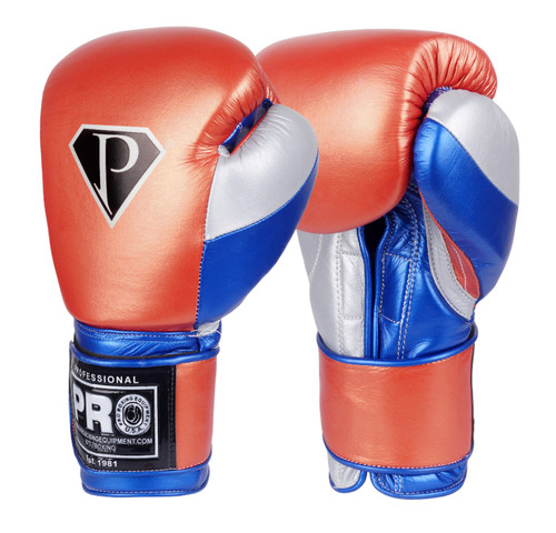 PRO Boxing Professional Hook-N-Loop Boxing Gloves Metallic Red/Silver/Blue Handmade by the Professionals!