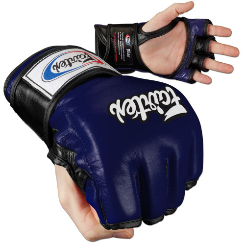 """As seen at Major MMA events such as WEC, Strikeforce, EliteXC, IFL, HDnet, Bodog, Affliction, M1, Pancrase, One FC, Road FC, PXC. This series was awarded the """"Best MMA Gloves"""" title by Fighter Only Magazine in 2008, as voted by MMA fans from around the world. Patent open palm with split knuckles and """"open thumb loop"""" or """"thumb enclosure"""" designed for the ultimate grappling control with minimal restriction. Ergonomically engineered with a unique contoured and tight-fit hand compartment to provide a secure and snug fit. Constructed from premium quality leather with Fairtex's signature three-layered foam core system for excellent hand and knuckle protection and shock disbursement.   Fingers are split at base for unimpeded dexterity and ventilation Longer fingers add extra protection to the knuckles Three-layer-- contoured knuckle padding absorbs shock Durable leather construction with nylon water-repellant lining Handmade in Thailand"""