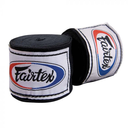 """Slightly elastic Fairtex Thai wraps contour the hands and create a tight fist. Hook & loop closures and thumb loops Cotton weave fabrication 180"""" long Handmade in Thailand"""
