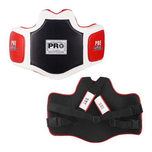 """New and exclusive Gel Enforced Lining makes for the most comfortable, protective, anatomically correct and top-of-the-line training protector Almost 3"""" of multilayer special cell padding protects the trainer like a bullet proof vest More than 1/2"""" outside GEL Target Zones offer the athlete the utopia in power, precision, speed and incredible life-like impact resistance Complete with moisture wicking inside liner, completely adjustable shoulder and back nylon straps, and exclusive adjustable GEL shoulder pads Size: One Size Fits Most"""