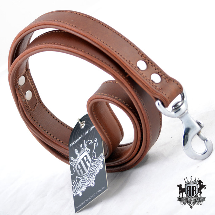 Classic Leather Padded Leash - Brown
