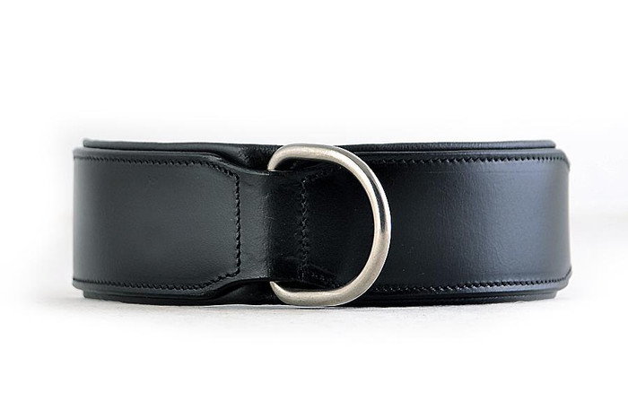 Classic Leather Collar Padded - Black