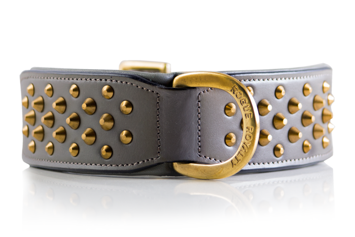 Ruff Neck Collar - Grey & Brass