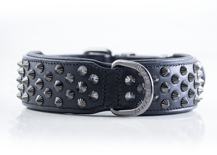 Ruthless Collar - Black  & Black (Flat Studs)