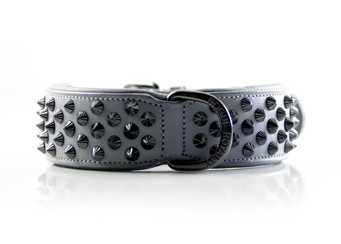 Ruthless Collar - Grey & Black (Flat Studs)
