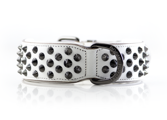 Ruthless Collar - White & Black  (Flat Studs)