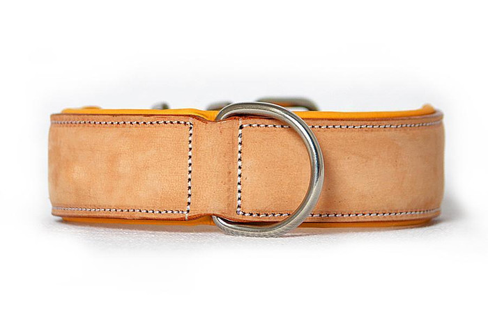 Classic Leather Collar Padded - Buckskin