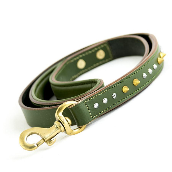 Imperial Leather Dog Leash - Havana Green