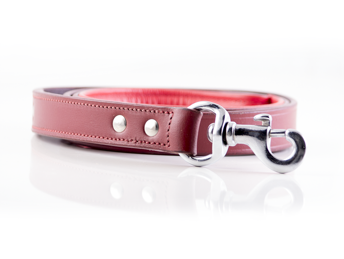 Classic Leather Dog leash - Red
